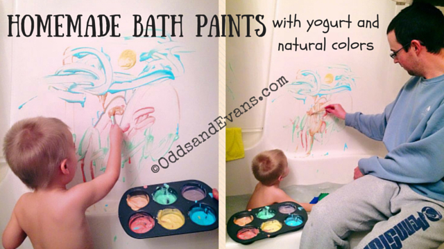 Homemade Bath Paint with yogurt and natural food colors - www.OddsandEvans.com
