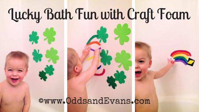 Lucky Bath Fun with Craft Foam - Shamrocks, Rainbows, and homemade bath paint