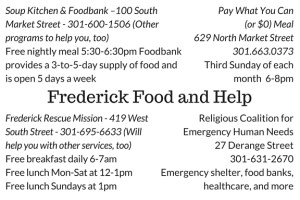 Frederick Maryland Homeless Food and Help Resource to Hand Out
