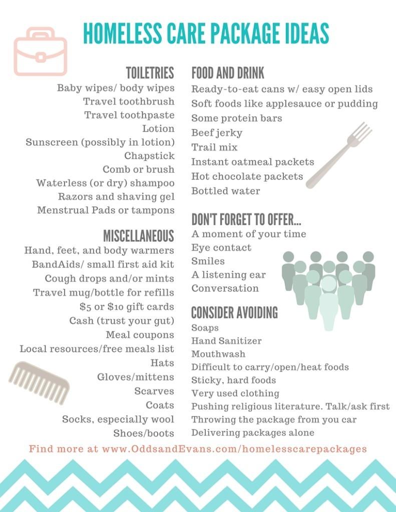 Homeless Care Package Item Ideas for Blessing Bags | OddsandEvans.com