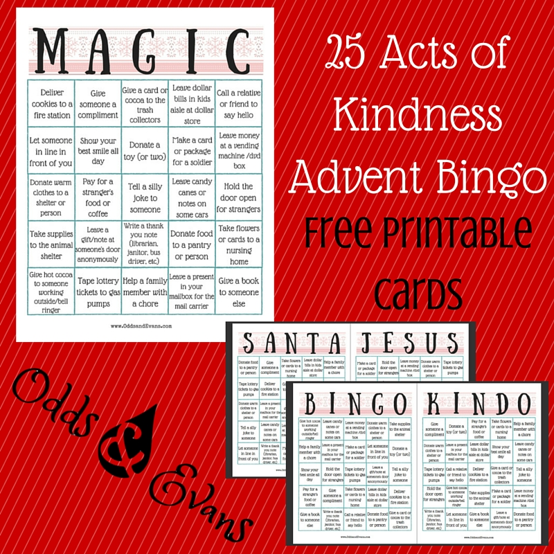 25 Acts of Kindness Advent Bingo (Free Printable Cards) - Odds & Evans