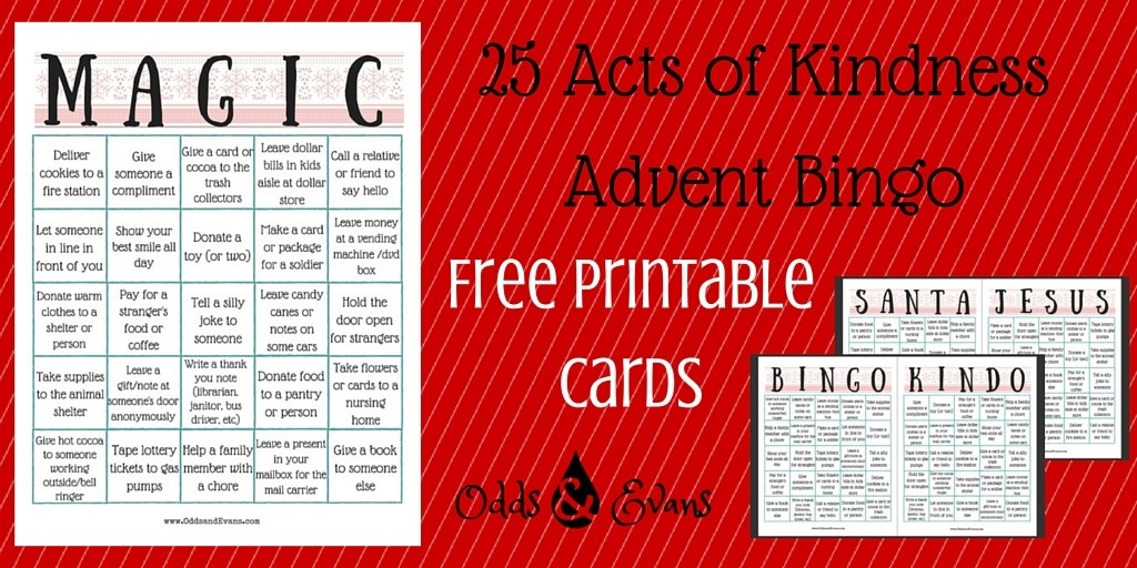 25 Acts of Kindness Advent Alternative Bingo Free Printable Cards for Christmas